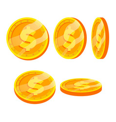 dollar gold coins sign set flat cartoon vector image