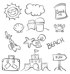 doodle object summer beach hand draw vector image