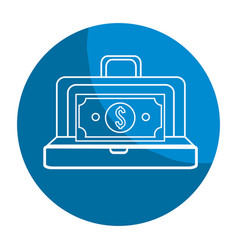 Emblem suitcase with bill money inside vector