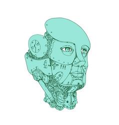 Humanoid robot head female monoline vector