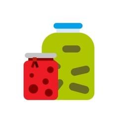 Jam jars icon flat style vector image
