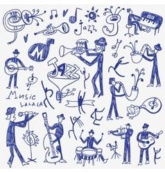 Jazz musicians doodles set vector