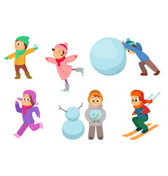 kids playing in winter games different childrens vector image