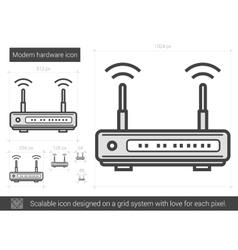Modem hardware line icon vector