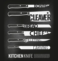 Monochrome kitchen knives scheme set vector