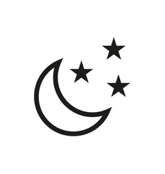 Moon and stars icon on white background vector