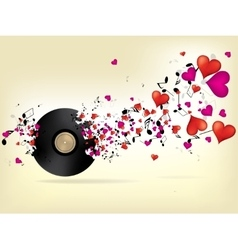 Music background with hearts vector