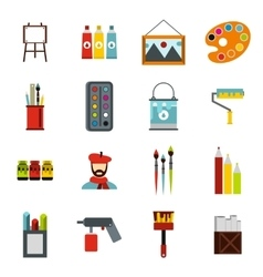 Painting icons set flat style vector