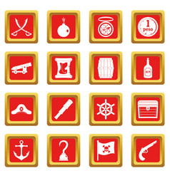 pirate icons set red vector image