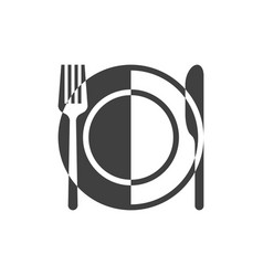 plate and cutlery icon vector image