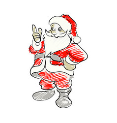 santa claus pointing up sketch hand vector image