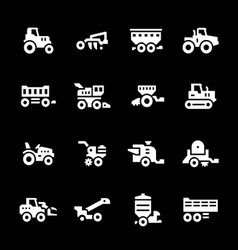 Set icons of agricultural machinery vector