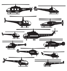 Set icons of helicopters isolated on white vector image vector image