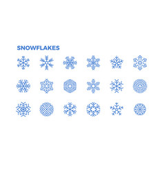 Snowflake icons crystals of snow for the vector