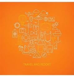 Thin Line Summer Holiday Travel Icons Set Circle vector image
