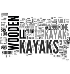 Wooden kayaks text word cloud concept vector