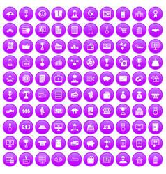 100 business icons set purple vector