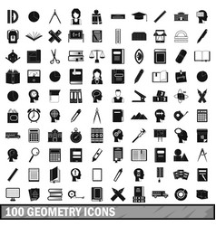 100 geometry icons set simple style vector