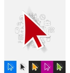 cursor paper sticker with hand drawn elements vector image