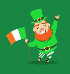 happy smiling leprechaun holding irish flag in his vector image