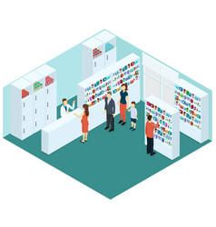 Colorful isometric pharmacy concept vector