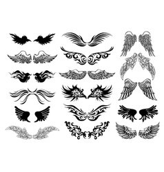 Wings tattoo set vector