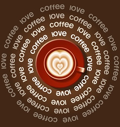 Red cup of rippled heart in latte art vector