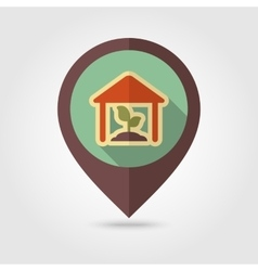 Greenhouse flat mapping pin icon with long shadow vector