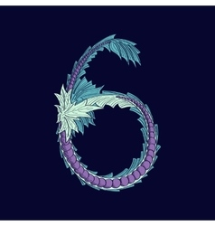 Abstract number 6 logo icon in Blue tropical vector image