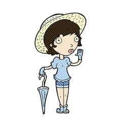 Comic cartoon woman in summer hat waving vector
