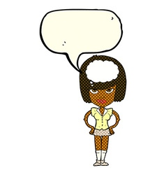 Cartoon woman thinking with speech bubble vector