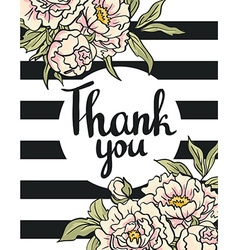Greeting card flowers - thank you hand painting vector