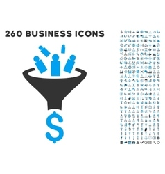 Sales funnel icon with flat set vector