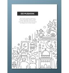 Eid mubarak - line design brochure poster template vector