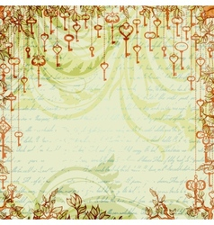 Abstract vintage background with antique keys vector