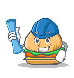 Architect burger character fast food vector