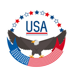 Beauty eagle with american ribbon symbol vector