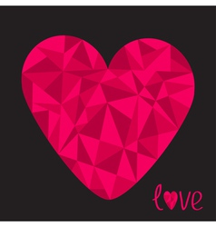Big pink heart Polygonal effect Love card Black vector image vector image