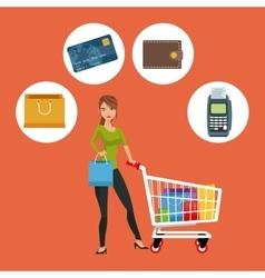 Cart girl and shopping icon set design vector