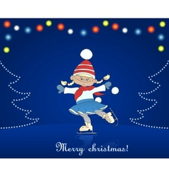 Christmas card with cartoon girl skating vector image