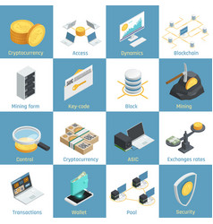 Cryptocurrency isometric icons vector