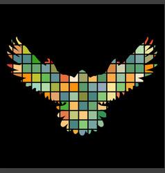 falcon hawk bird mosaic color silhouette animal vector image