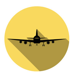 Flying plane sign front view flat black vector