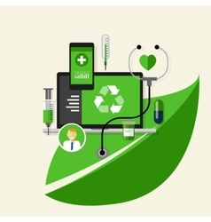 green recycle health medical environment friendly vector image vector image