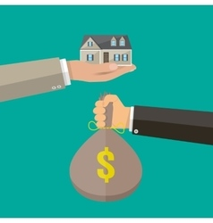 Hands with money bag and house real estate vector