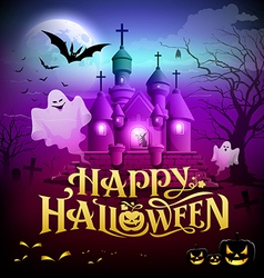 Happy halloween gold lettering castle with ghosts vector image