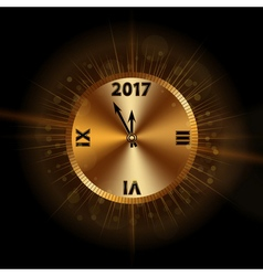 Happy new year background gold clock vector