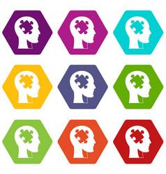 head with puzzle icon set color hexahedron vector image vector image
