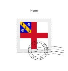 Herm flag postage stamp vector