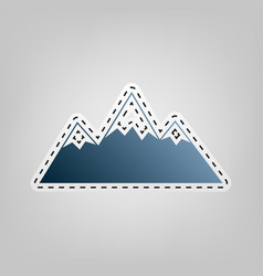 Mountain sign blue icon with vector
